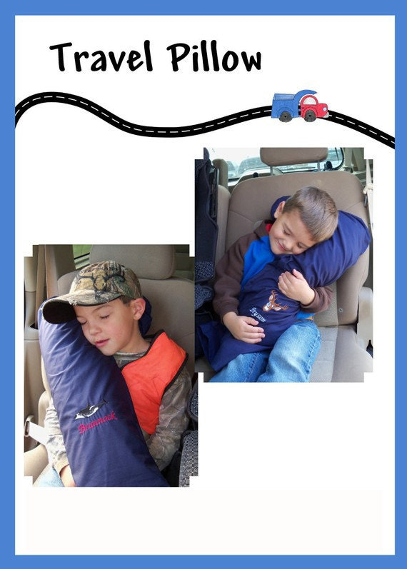 Travel Pillow with Pillow-case-Monogram-Personalize with your choice of graphic and text - Made for Adult or Child