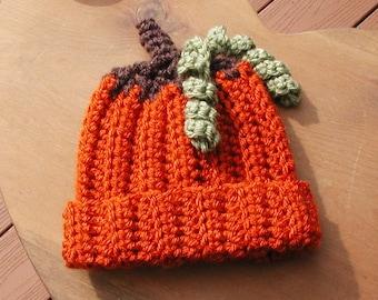 READY TO SHIP Pumpkin Hat-(Pumpkin, Brown and Green)