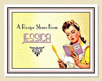 Delightful 1940s Cook - Personalized Recipe / Note Cards (10 Folded)