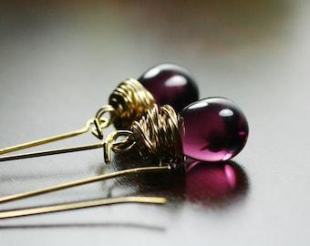 Bridesmaids, Purple Earrings, Eggplant,  Plum, Violet, Dark Purple, Gold Earrings by Simply Sleek
