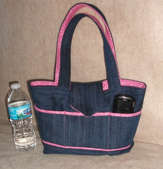Blue jean bag purse denim pink paisley handbag tote style purse