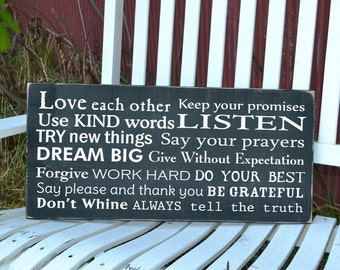 Family Rules Horizontal painted wood sign