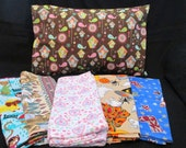 set of girl travel pillow cases - birdhouses, raining dogs, Valentines, Halloween, Christmass - great gift for kids