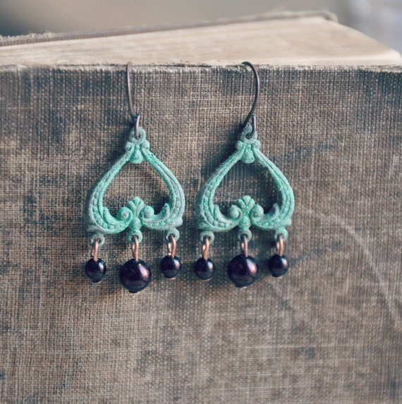 patina and pearl chandelier earrings.