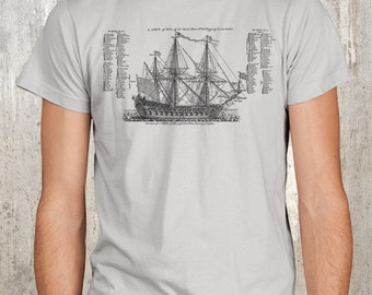 Old Ship Diagram - Men's Screen Printed T-Shirt - Sizes S, M, L, XL and 2XL Available.
