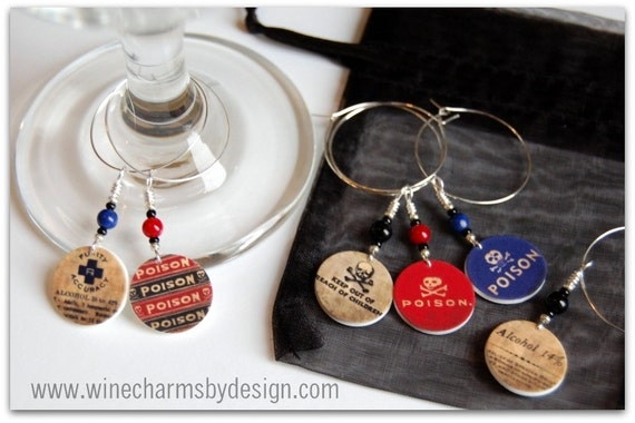 Poison Wine Glass Charms (Set of 6)