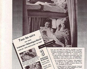 Original Vintage French Ad Air France Airlines 1954