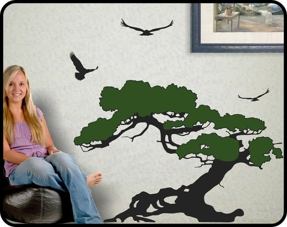 Bonsai Tree Wall Decal with birds Juniper tree wall decor Coastal art