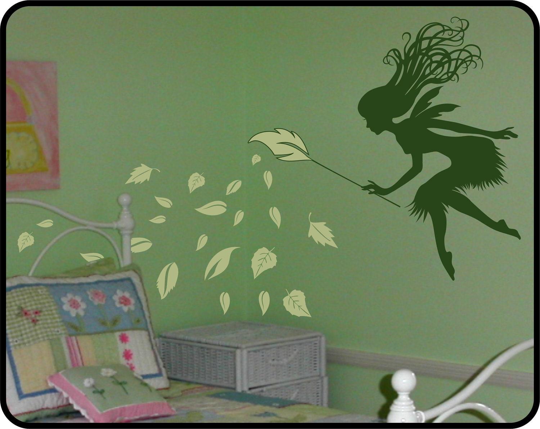 Fairy Wall Decal With Leaf Wand Nursery Decor Idea Forest