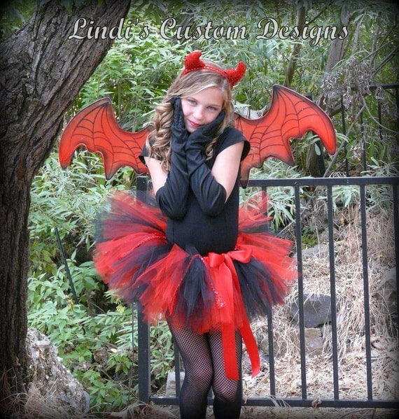 Devil Tutu Red and Black with Red Sequin Accent for Halloween, Costume Accessory, Custom Made Children up through Adult Sizes