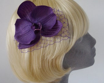 Purple Flower Hair Comb, Purple Orchid Hair Comb, Purple Hair Flower, Purple Hair Orchid, Purple Hair Accessory, Purple Orchid Headpiece