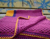 """Crochet Baby Blanket 40"""" Granny Square Afghan Yellow Purple Violet Magenta Multicolor Custom Colors by dodofit on Etsy"""