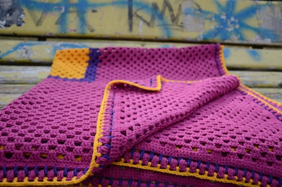 "Crochet Baby Blanket 40"" Granny Square Afghan Yellow Purple Violet Magenta Multicolor Custom Colors by dodofit on Etsy"
