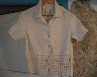 BEAUTIFUL SHIRT with crochet lace detail, FRENCH designer, mother of pearl buttons, size medium