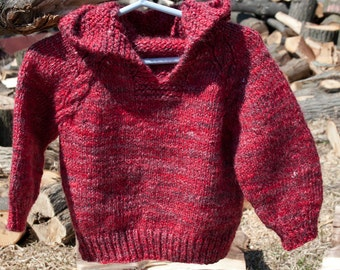 Special: Hand Knit and Handspun Merino Wool & Silk Blend Baby Sweater Hoodie, Luxury Heirloom