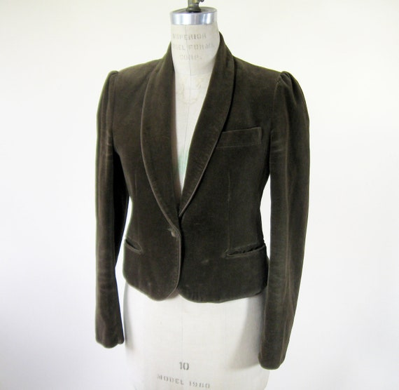 80s Brown Velvet Blazer Equestrian Jacket Puff Sleeves Womens Medium