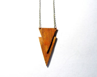 3rd anniversary gift -Geometric Necklace - triangle jewelry- Gold  Brown   Leather Geometric  Jewelry BEST SELLING    Fashion Pendant