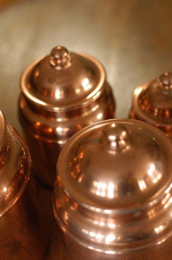 Vintage Copper Canisters, Set of 4