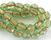 Czech Glass 4mm Rnd Fire Polish Beads Copper/Peridot 10 pieces
