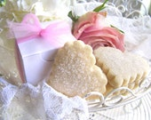 Shower Favors - Shortbread Cookie Hearts - 50 White Boxes - Bridal or Baby Shower Favors