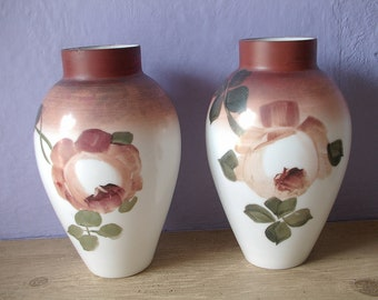 antique milk glass vases, mantel vases pair, hand painted red roses flowers, white vases, living room decor