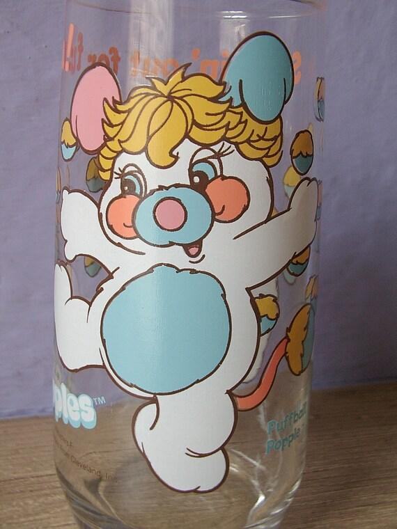vintage 1980's drinking glass, Popples, white teddy bears, 1986, kitsch, kitschy, pink blue