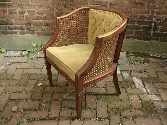 Vintage velvet cane barrel chair yellow armchair vintage living