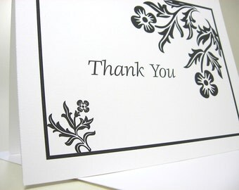 Thank You Note Cards Traditional Black White Motif Wedding Custom Thanks Classic