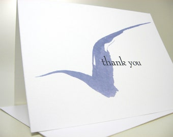 Thank You or Custom Note Card Personalized Blue Ink Blot Bird Casual Informal Note