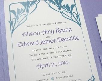 Wedding Invitation Pocketfold Lavender Teal Art Noveau Art Deco Spring Summer Elegant Wedding Invite Wedding Lavender Pocket