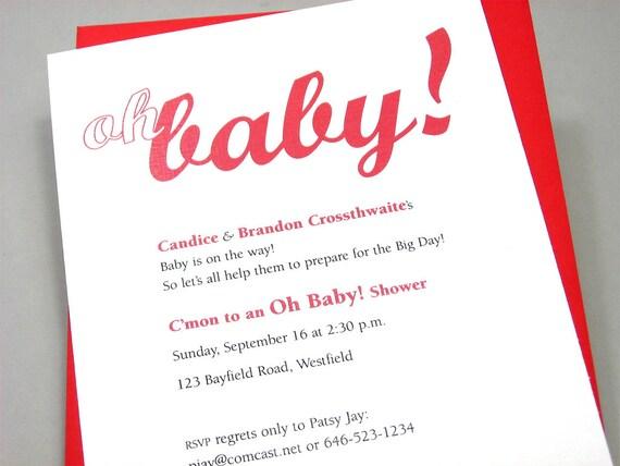Baby Shower Invitation Custom Bold Red Adoption LGBTQ Birth Announcement