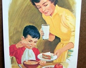 "1966 ""Lunch"" Teaching Pictures, No. 3 of 12 in Food and Nutrition Series, 11x14 Poster"