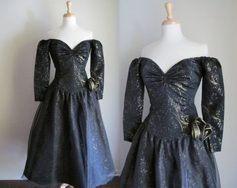 1970s Party Dress / 70s 80s Black Gown / Glam Dress