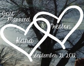 Vinyl Car Window Decal - Just Married Locked Hearts with names and date- 22 x 33...wedding car or wall decal