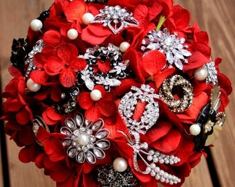 Red Brooch Bouquet gothic red black feathers vintage bouquet, Deposit only