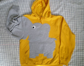 Elephant sweatshirt with trunk sleeve,  elephant HOODIE, elephant shirt, adult size Medium, YELLOW, cosplay