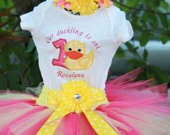 Brithday Tutu Rubber Duckie Outfit, 3 piece set: embroidered shirt, tutu, matching headband