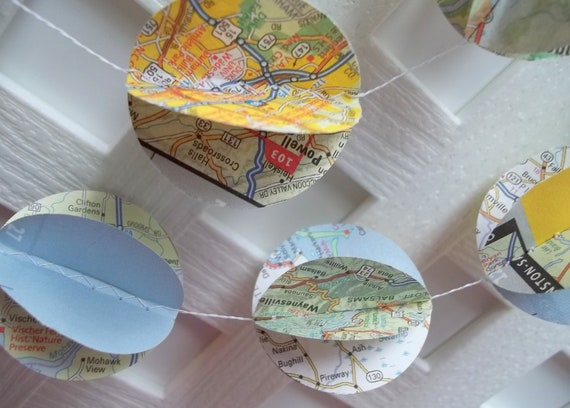 Map Garland Upcycled from Road Atlas