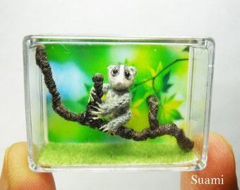 Miniature Slow Loris  - Micro Crochet Dollhouse Amigurumi Animals - Made To Order