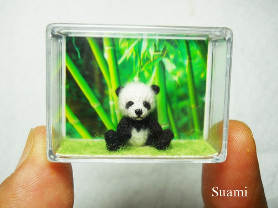 Miniature Panda Bear 0.8 inch - Micro Bear Amigurumi Thread Crochet Mohair Panda Stuff Animal - Made To Order