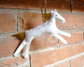 wool horse ornament in white and olive