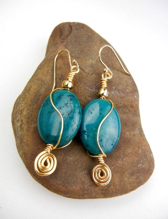 Teal blue gemstone earrings with gold wire spirals