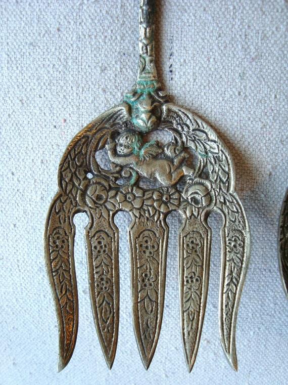 Vintage Italian Serving Set Fork And Spoon Cherub Fleur De Lis