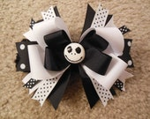 Nightmare before Christmas inspired hairbow with free crochet headband