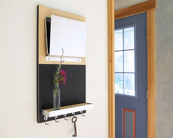 CHALKBOARD MESSAGE CENTER Modern iPad Home or Office Organizer with Key Hooks and Shelf.