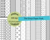 The Greys 12x12 Digital 22 page Paper Pack 300 dpi Printable small business use