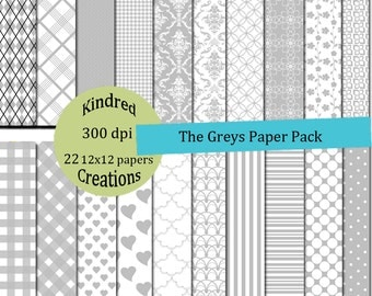 The Greys 12x12 Digital 22 Patterned Paper 300 dpi Printable small business use