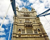 London Bridge, London Photograph, Europe, Fine Art Photography, Travel Photography, Blue Skies, Clouds, Home Decor