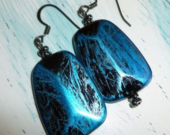 Blue Black Acrylic Bead Earrings, Acrylic and Gunmetal Earrings, Dangle Earrings, FREE SHIPPING