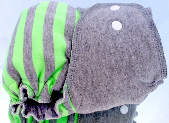 Fitted Diaper in Lime and Graphite - Large 22lbs-40lbs - serged cv